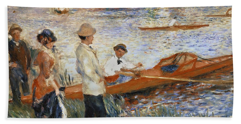 Oarsmen At Chatou Beach Towel featuring the painting Oarsmen At Chatou by Pierre Auguste Renoir
