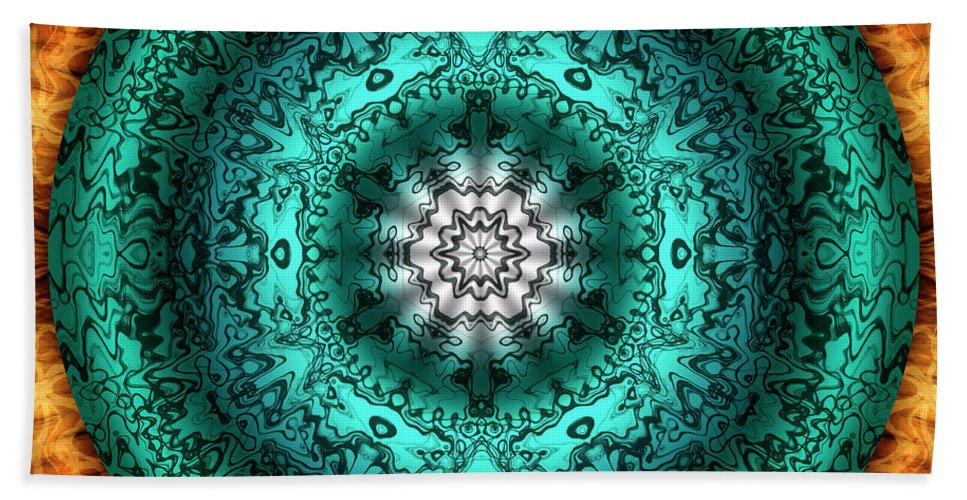 Experimental Mandalas Beach Towel featuring the digital art Oasis by Becky Titus