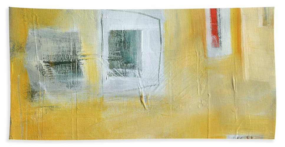 Abstract Beach Towel featuring the painting Oasis by Tim Nyberg