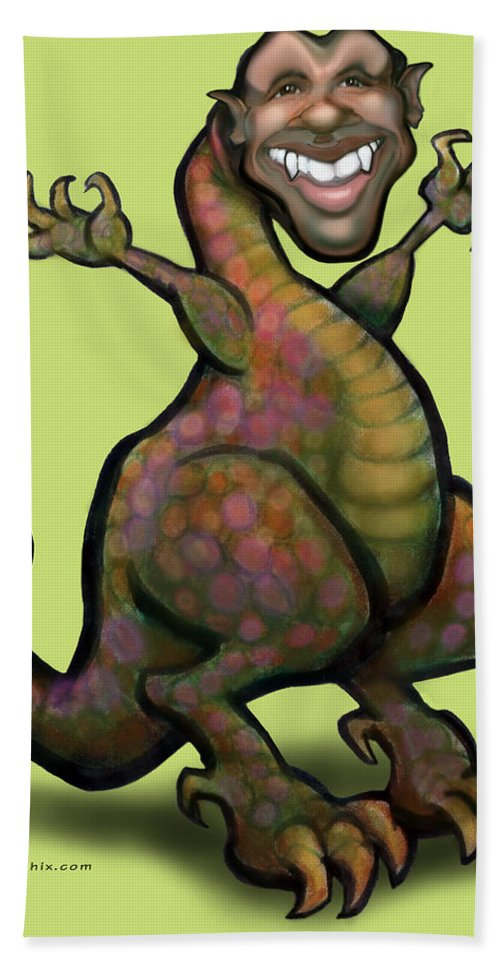 Barack Obama Beach Towel featuring the greeting card Obama Saurus Rex by Kevin Middleton