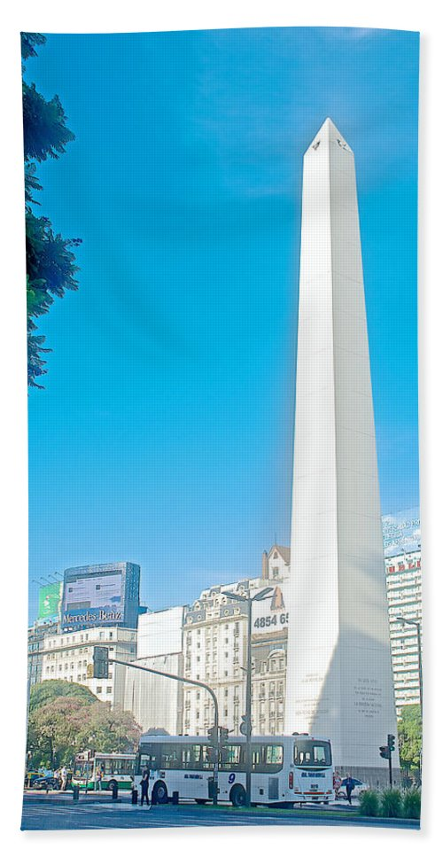 Obelisk On July Nine Avenue In Buenos Aires Beach Towel featuring the photograph Obelisk On July Nine Avenue In Buenos Aires-argentina by Ruth Hager