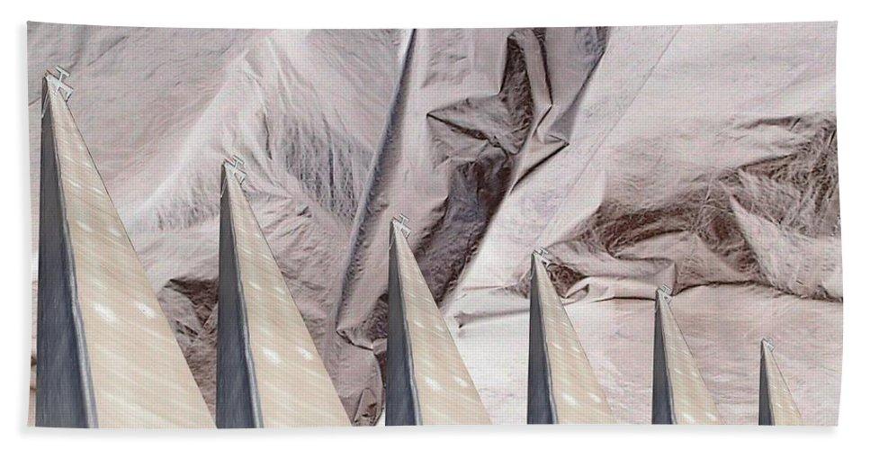 Obelisk Beach Towel featuring the digital art Obelisks Aligned by Ron Bissett