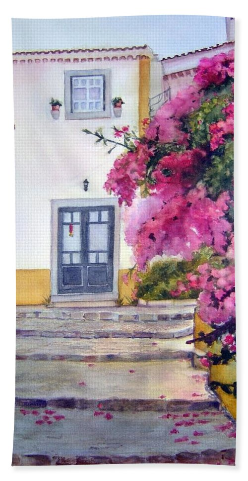 Portugal Beach Towel featuring the painting Obidos And Bougainvilla by Katherine Berlin