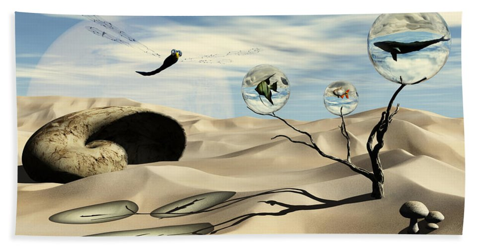 Surrealism Beach Sheet featuring the digital art Observations by Richard Rizzo