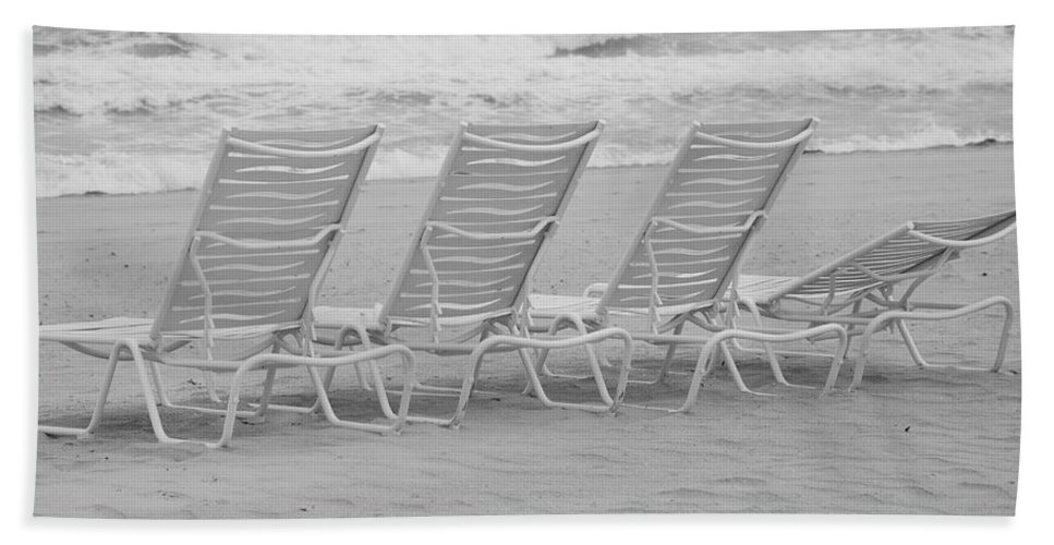 Black And White Beach Towel featuring the photograph Ocean Chairs by Rob Hans