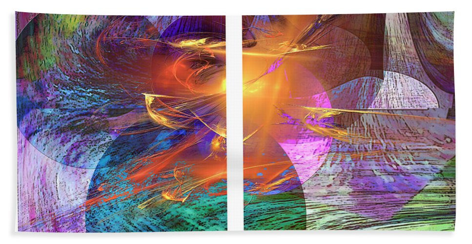 Ocean Fire Beach Towel featuring the digital art Ocean Fire by John Beck
