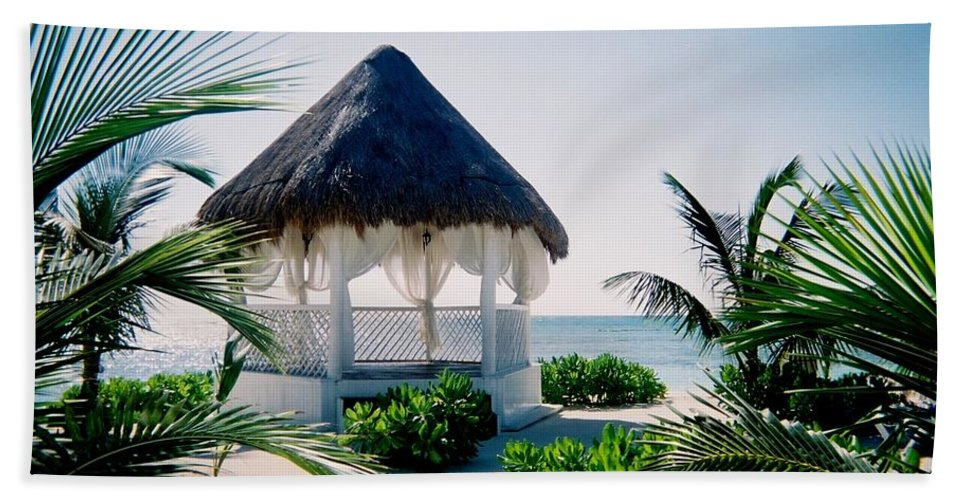 Resort Beach Sheet featuring the photograph Ocean Gazebo by Anita Burgermeister