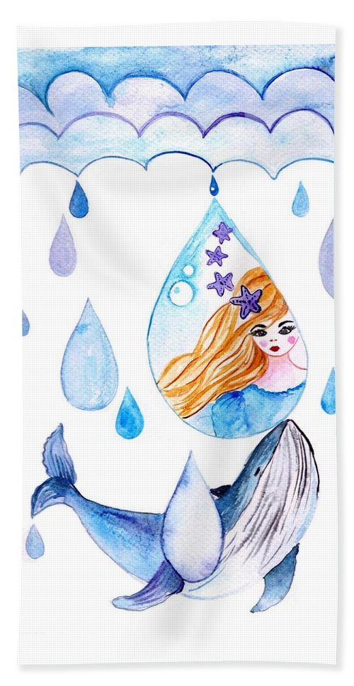 Beach Towel featuring the painting Ocean Girl by Sweeping Girl