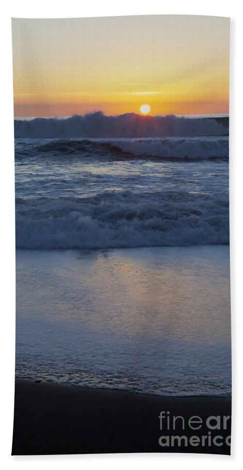Vertical Beach Towel featuring the photograph Ocean Wave Kisses The Sun by Sharon Foelz