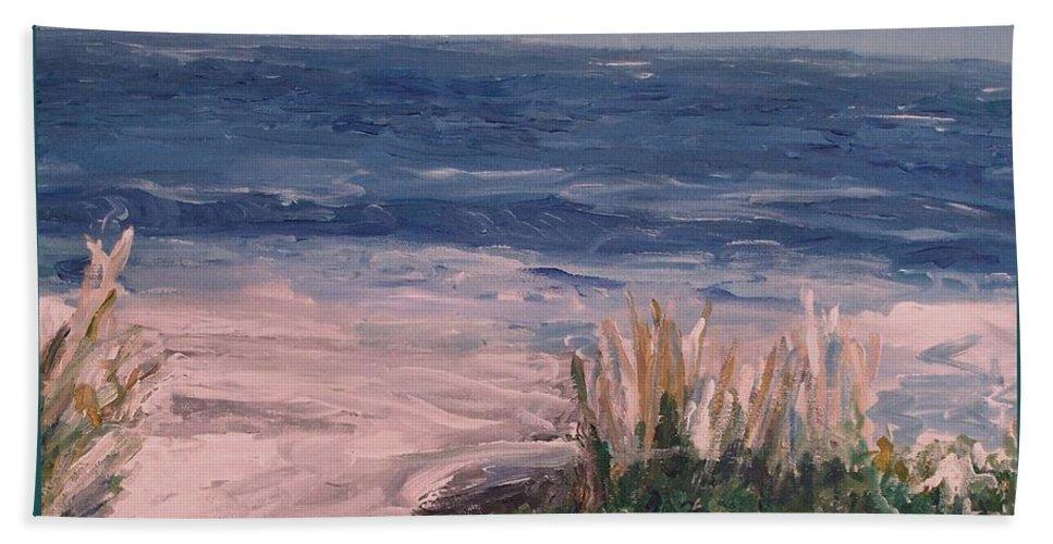 Ocean Beach Towel featuring the painting Ocean Trail by Eric Schiabor