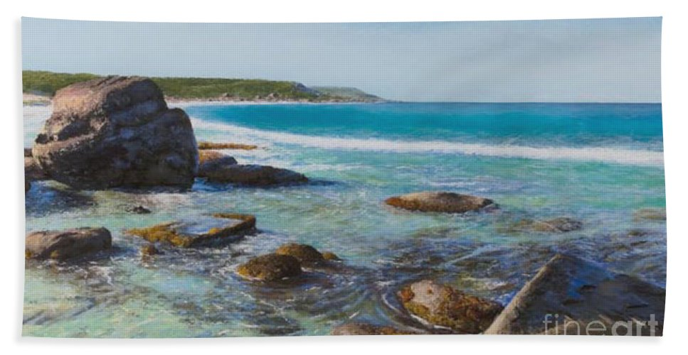 Pastel Beach Sheet featuring the painting Oceans Edge by Gary Leathendale
