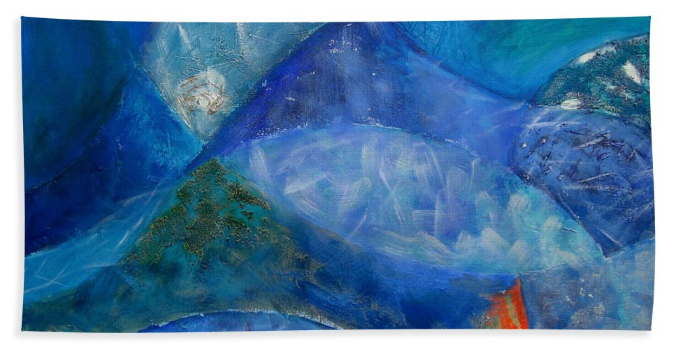 Abstract Beach Towel featuring the painting Ocean's Lullaby by Aliza Souleyeva-Alexander