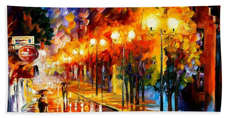 Afremov Beach Towel featuring the painting October Fog by Leonid Afremov