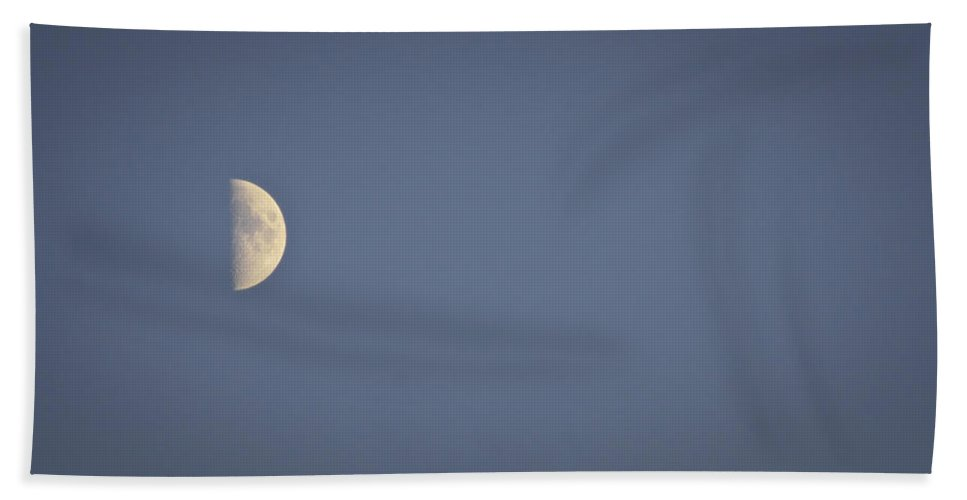 October Beach Towel featuring the photograph October Half Moon by Teresa Mucha