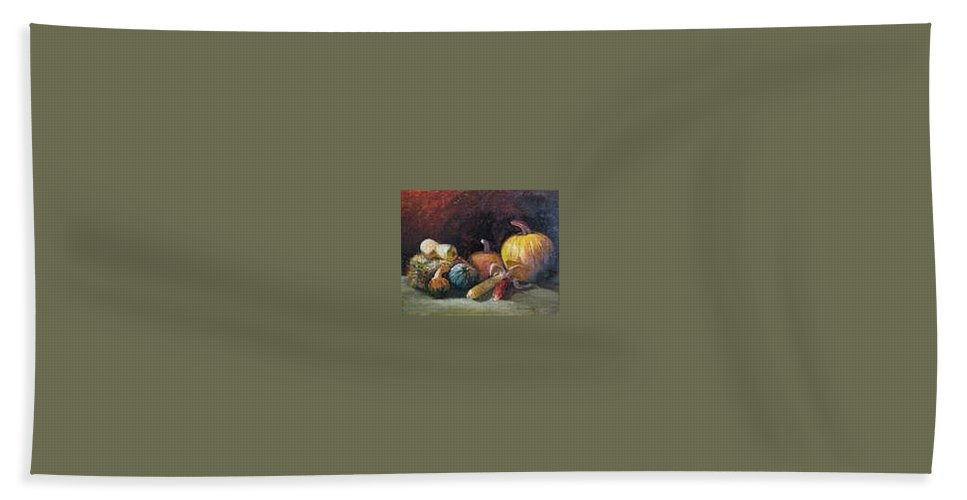 Harvest Beach Towel featuring the painting October Harvest by Jan Harvey