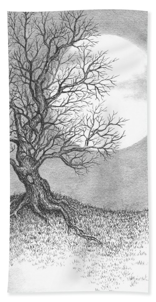 Pen And Ink Beach Towel featuring the drawing October Moon by Adam Zebediah Joseph