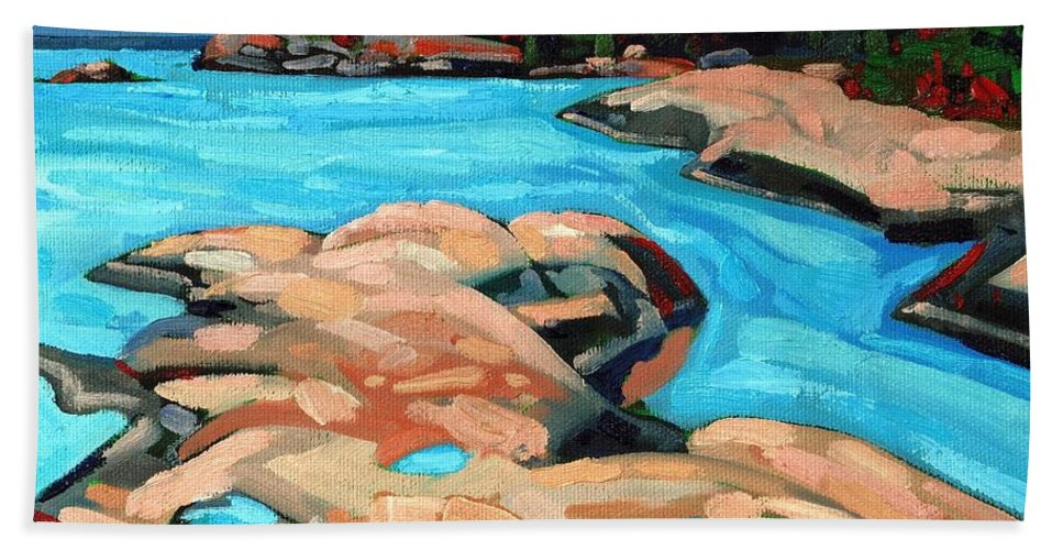 Killarney Beach Towel featuring the painting October Morning At Red Rock Bay by Phil Chadwick