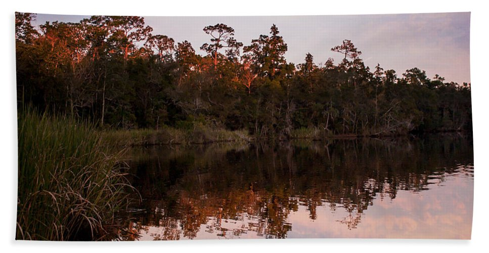 Reflections Beach Towel featuring the photograph October Reflections On The River by Mechala Matthews