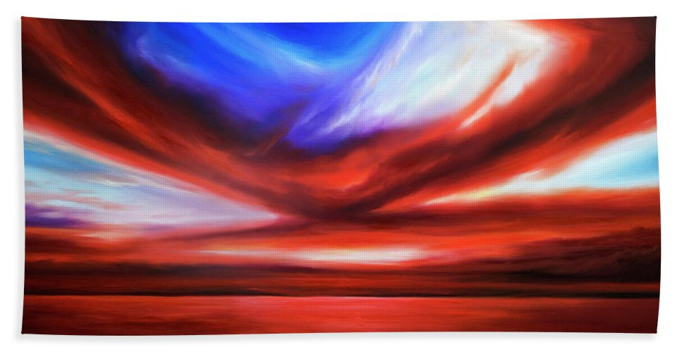 Sunrise; Sunset; Power; Glory; Cloudscape; Skyscape; Purple; Red; Blue; Stunning; Landscape; James C. Hill; James Christopher Hill; Jameshillgallery.com; Ocean; Lakes; Storm; Tornado; Lightning Beach Sheet featuring the painting October Sky V by James Christopher Hill