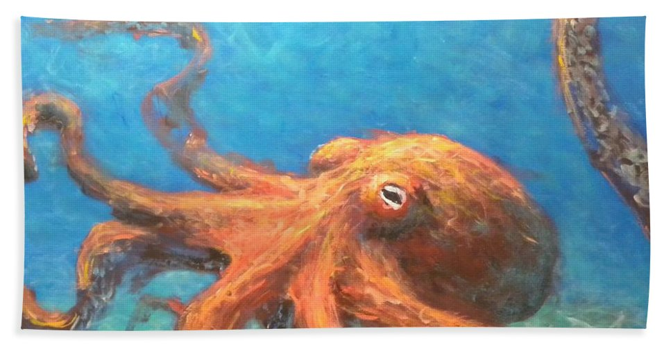 Octopus Beach Sheet featuring the painting Octopus by Paul Emig
