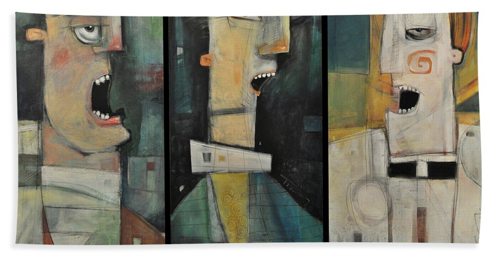 Men Beach Towel featuring the painting Odd Fellows Triptych by Tim Nyberg