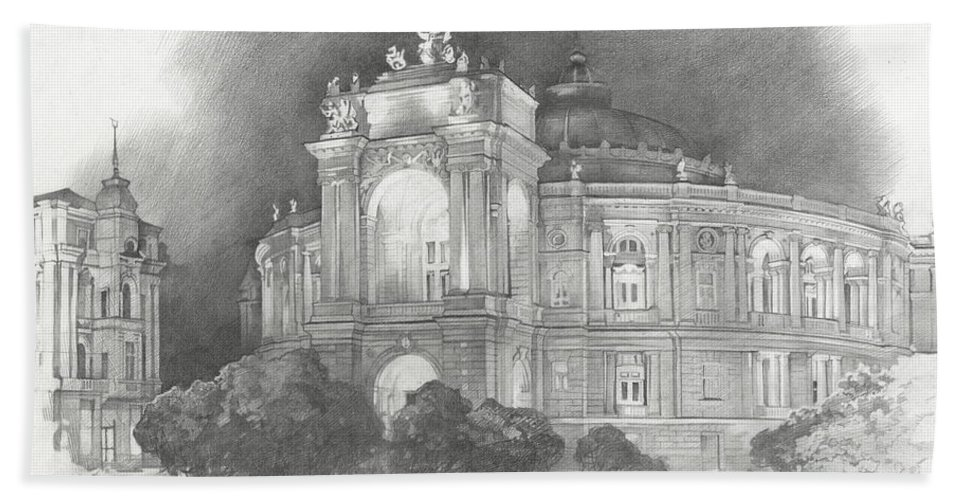 Odessa Beach Towel featuring the drawing Odessa Theater by Denis Chernov