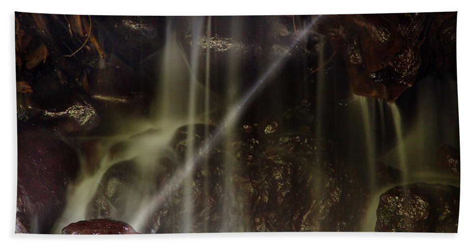 Water Trickle Beach Towel featuring the photograph Of Light And Mist by Peter Piatt