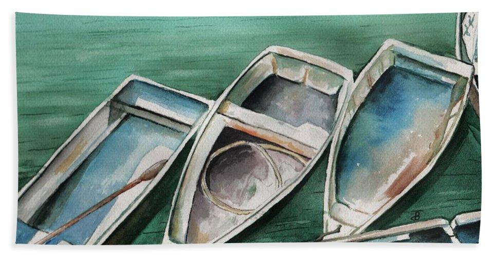 Skiffs Beach Towel featuring the painting Ogunquit Maine Skiffs by Brenda Owen
