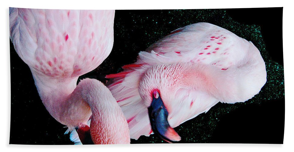 Flamingos Beach Towel featuring the digital art Oh Dahlin by Lizi Beard-Ward