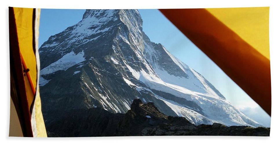 Matterhorn Beach Towel featuring the photograph Matterhorn Camping by Two Small Potatoes
