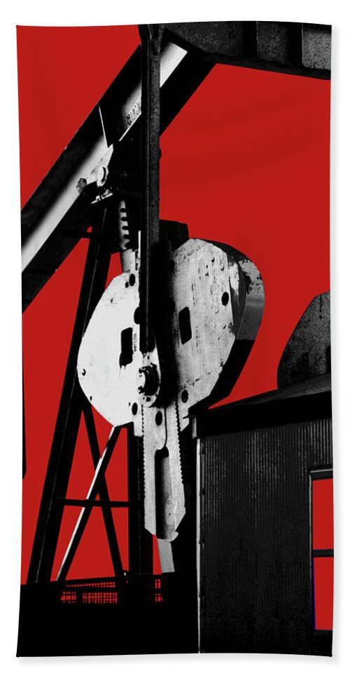 Oil Gas Industry Pump Jack Well Oilfield American America Blue Black Production Platform Drilling Rig Geology Exploration Pipeline Refining Up Down Mid Stream Abstract Petroleum Petrochemical Gas Drill Driller Technology Digital Manipulation Texas Men Decor Art Fine Office Industrial Wells Pumps Graphic Photograph Photo Image Arty Oilwell Offshore Energy Pumpjack Barrel Art Crude Oilman Toolpusher Beach Towel featuring the photograph Oil Well Pump #4 by Dennis Thompson