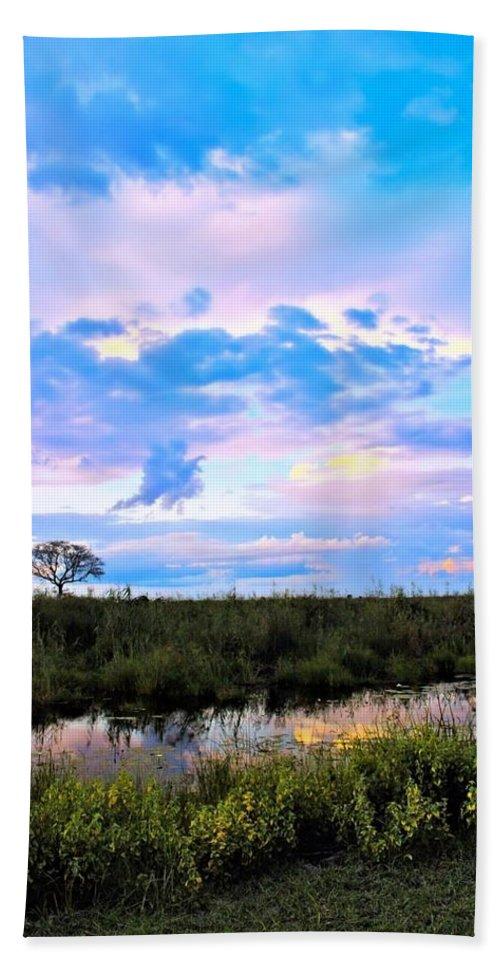 Beach Towel featuring the photograph Okavango Sundowners by Katie Seymour