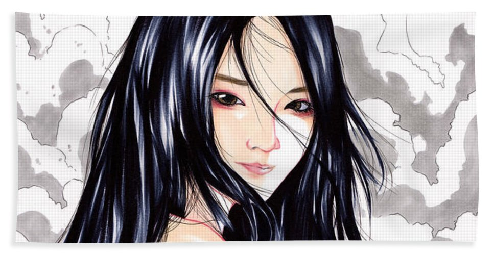 Illustration Beach Towel featuring the drawing Okinawa Girl by Tyo Mochi