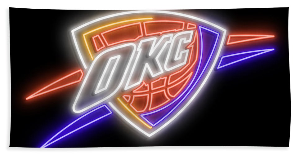 Oklahoma City Beach Towel featuring the digital art Oklahoma City Thunder Neon Sign by Ricky Barnard