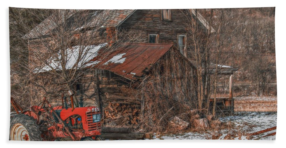 Abandoned Beach Towel featuring the digital art Old Abandoned Farm Homestead by Randy Steele