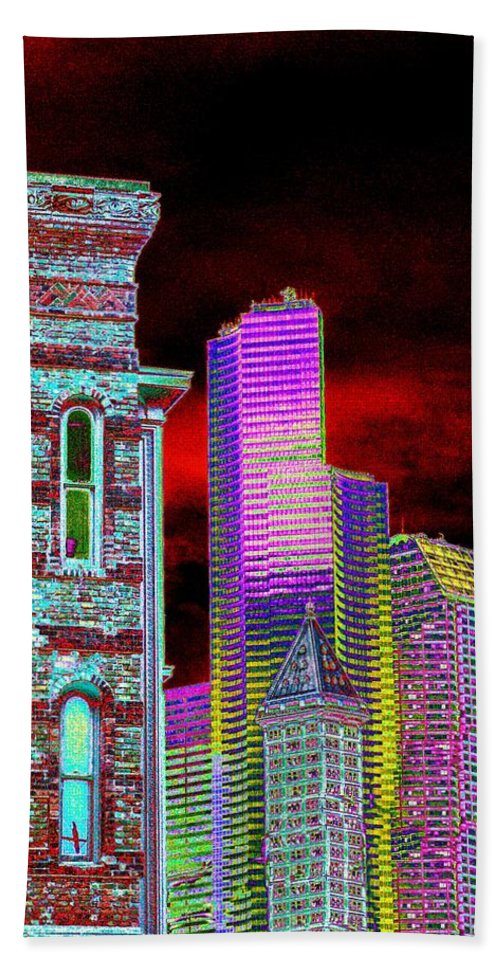 Seattle Beach Towel featuring the digital art Old And New Seattle by Tim Allen