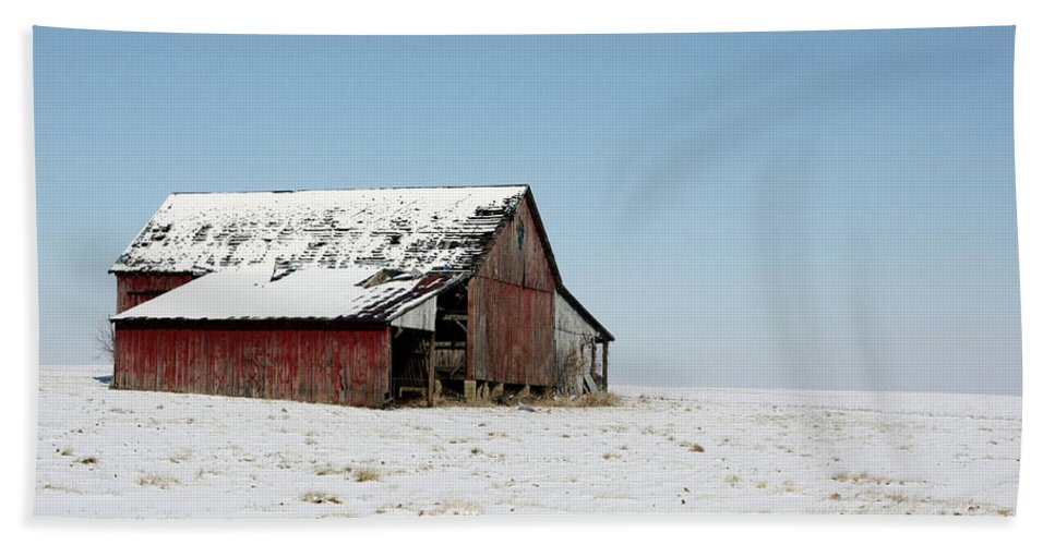 Agriculture Beach Towel featuring the photograph Old Barn And Snowy Prairie by Alan Look