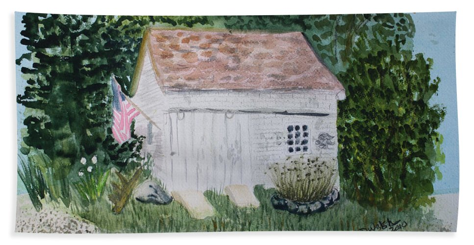 Barn Beach Towel featuring the painting Old Barn In Eastham Ma by Donna Walsh
