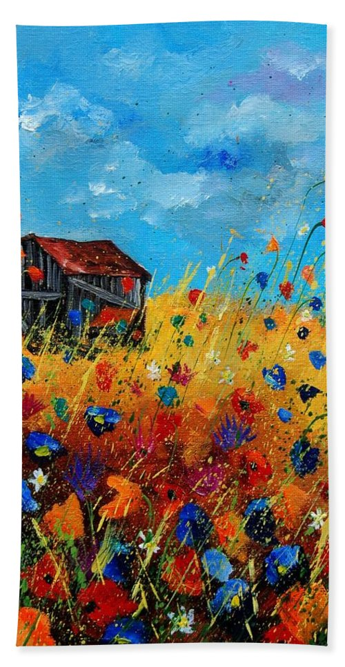 Poppies Beach Sheet featuring the painting Old Barn by Pol Ledent