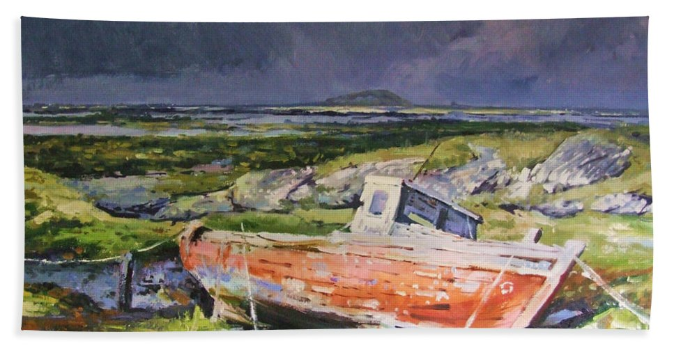 Rustic Boat Beach Towel featuring the painting Old Boat On Shore by Conor McGuire