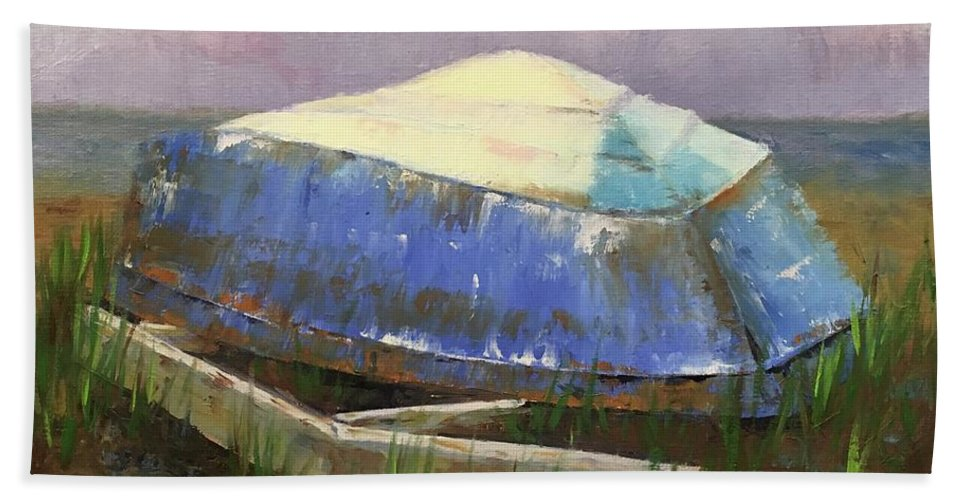 Rosie Beach Towel featuring the painting Old Boat by Rosie Phillips
