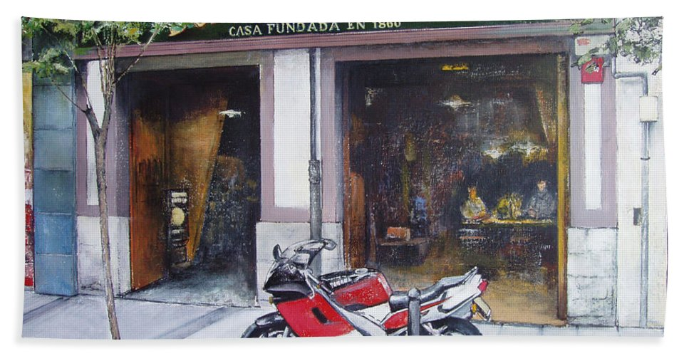 Bodegas Bringas Beach Towel featuring the painting Old bodegas Bringas by Tomas Castano