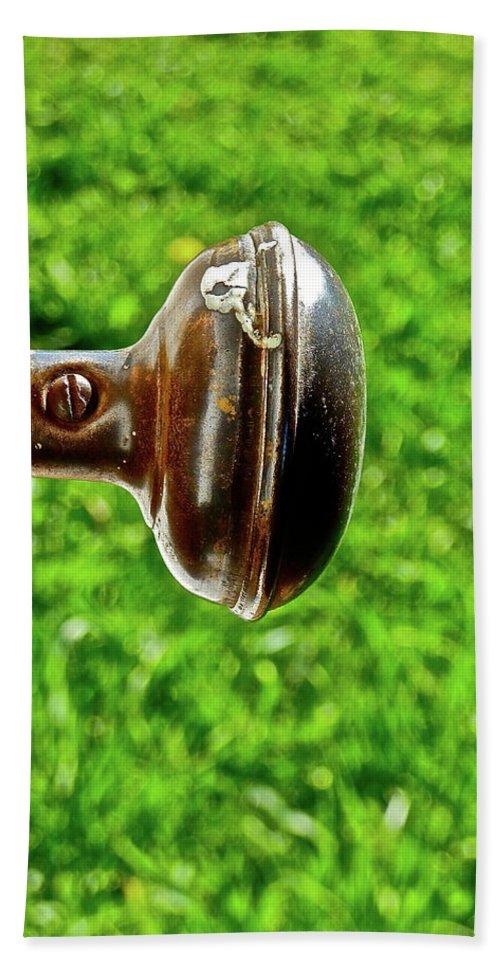 Doorknob Beach Towel featuring the photograph Old Brown Doorknob by Diana Hatcher