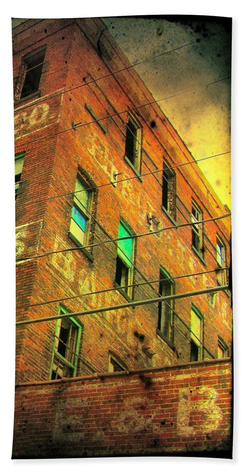 Architecture Beach Towel featuring the photograph Old Empty Building In Retro Colors by Gothicrow Images