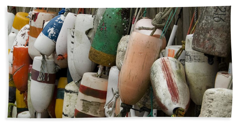 Bouys Beach Towel featuring the photograph Old Buoys Hanging Out by Steven Natanson