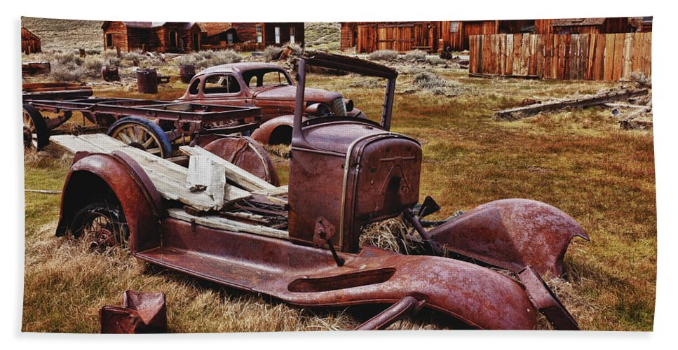 Car Beach Towel featuring the photograph Old Cars Bodie by Garry Gay
