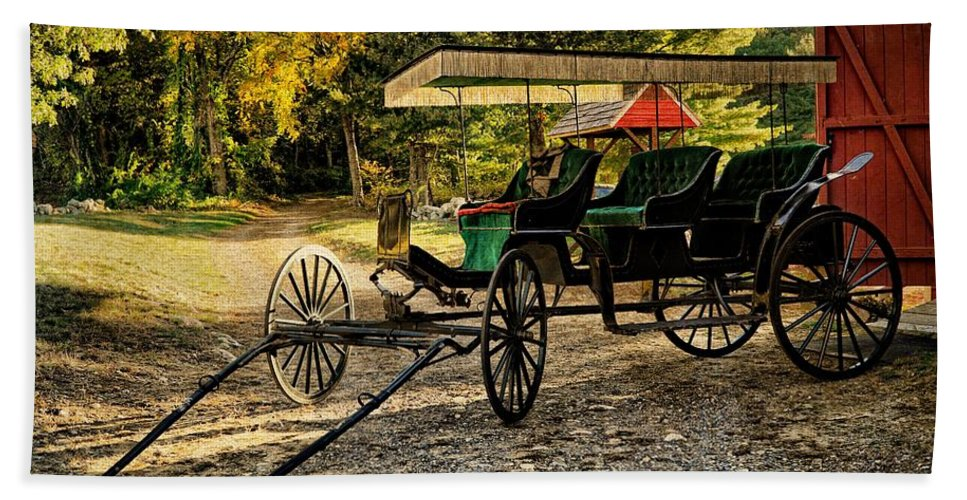 Old Cart Beach Towel featuring the photograph Old Cart - Old Movie Edition by Lilia D