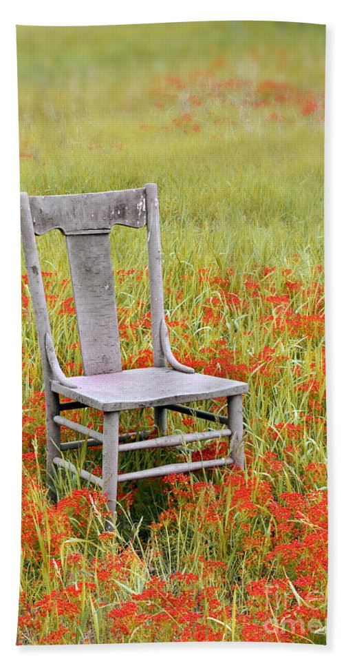Chair Beach Towel featuring the photograph Old Chair In Wildflowers by Jill Battaglia