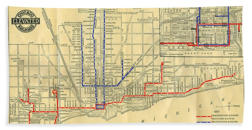 Old Chicago Elevated Train Map Beach Towel on