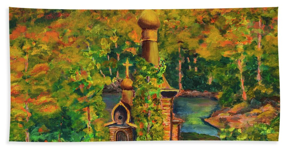 Old Church On The River Beach Towel featuring the painting Old Church On The River by Olga Hamilton